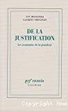 JUSTIFICATION (DE LA) - LES ECONOMIES DE LA GRANDEUR